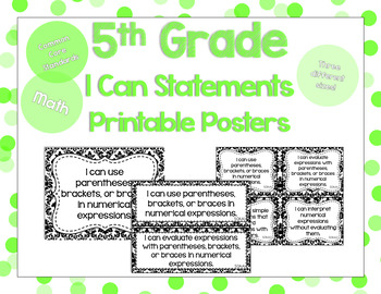 5th Grade Math I Can Statements for CCSS Standards (Damask)