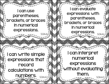 5th Grade Math I Can Statements for CCSS Standards (Gray Chevron)