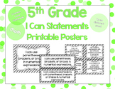 5th Grade Math I Can Statements for CCSS Standards (Gray Stripes)