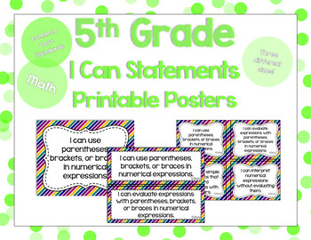 5th Grade Math I Can Statements for CCSS Standards (Jewel Tone Stripes)
