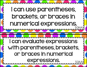 5th Grade Math I Can Statements for CCSS Standards (Rainbow Dots)