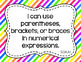 5th Grade Math I Can Statements for CCSS Standards (Rainbo