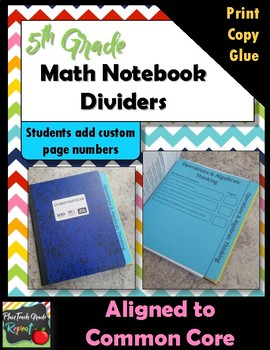 5th Grade Math Interactive Notebook Dividers/Table of Contents