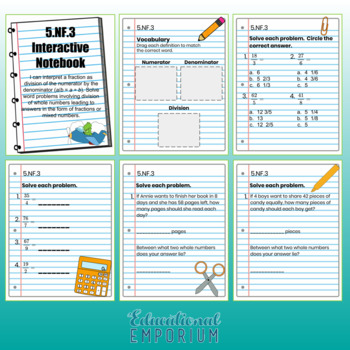 5th Grade Math Interactive Notebook: Fractions Interactive Notebook, Math, 5th