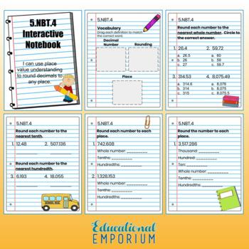 5th Grade Math Interactive Notebook, NBT (Number & Operations in Base Ten)