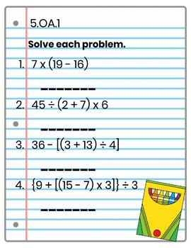 5th Grade Math Interactive Notebook: OA (Operations & Algebraic Thinking)