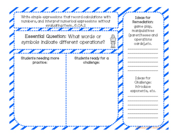 5th Grade Math Interactive Notebook Unit 1A: Order of Operations