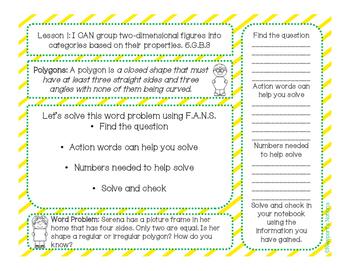 5th Grade Math Interactive Notebook Unit 5: 2D Shapes