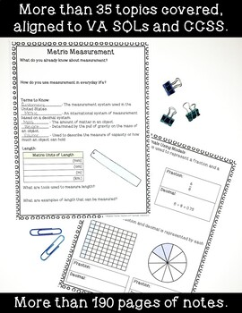 5th Grade Math Interactive Notes- ENTIRE YEAR