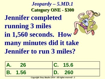 5th Grade Math Jeopardy Game - 5 MD.1 Convert Measurement Units 5.MD.1