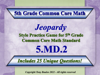 5th Grade Math Jeopardy Game - 5 MD.2 Measurement and Data 5.MD.2
