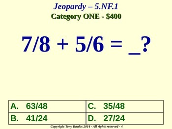 5th Grade Math Jeopardy Game - 5 NF.1 Add & Subtract Fractions 5.NF.1