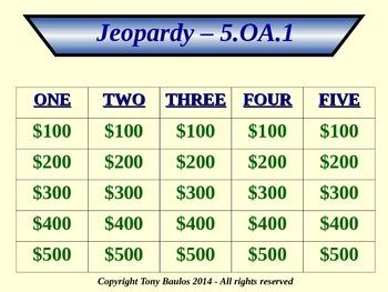 5th Grade Math Jeopardy Game - 5 OA.1 Evaluate Numerical Expressions 5.OA.1