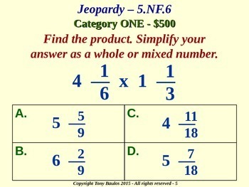 5th Grade Math Jeopardy Game 5.NF.6 Multiplication of Fractions & Mixed Numbers