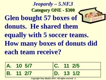 5th Grade Math Jeopardy Game -  Division of Fractions Word Problems 5.NF.3