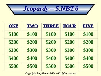 5th Grade Math Jeopardy Game - Find Quotients of Whole Numbers 5.NBT.6