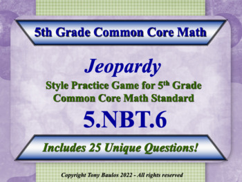 5th Grade Math Jeopardy Game - Find Quotients of Whole Num