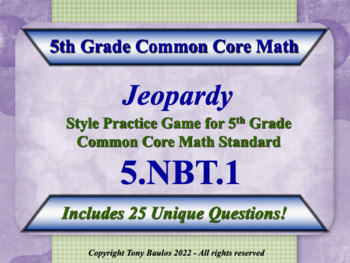 5th Grade Math Jeopardy Game - Understand The Place Value