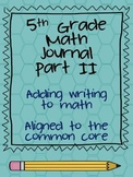 5th Grade Math Journal Part 2 extended response CCSS aligned