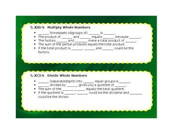 5th Grade Math Language Stems