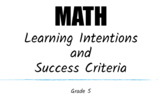 5th Grade Math Learning Intentions and Success Criteria