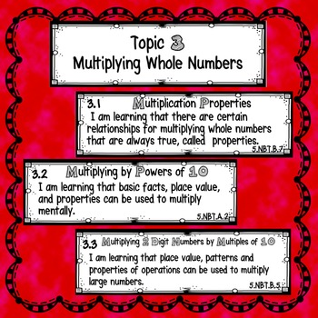 5th Grade Math Learning Targets Topic 3