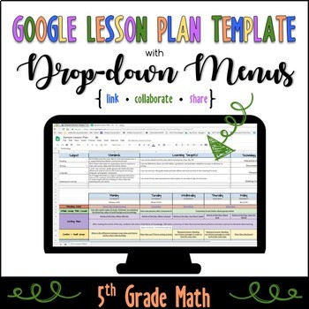 Google Lesson Plan Template with Drop-down Menus {Common Core 5th Grade Math}