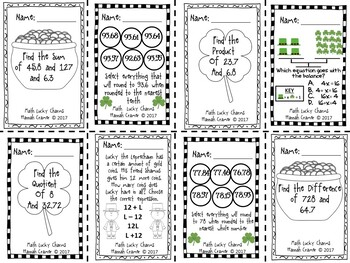 5th Grade Math Lucky Charms Sampler