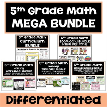 5th Grade Math Bundle - Differentiated Worksheets, Task Cards, and Games