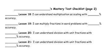 5th Grade Math Mastery Quizzes