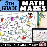5th Grade Math Mazes - A GROWING BUNDLE - Fun Math Review