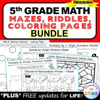 5th Grade Math Mazes, Riddles & Color by Number Bundle