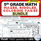 5th Grade Math Mazes, Riddles & Color by Number Bundle End of Year