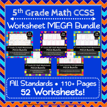 5th Grade Math Worksheets: 5th Grade Common Core Math Worksheets MEGA Bundle
