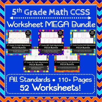 5th Grade Math Worksheets MEGA Bundle: ALL Common Core Sta