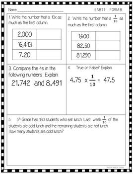 5th Grade Math Mini-Assessment (Common Core Aligned-All Standards)