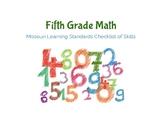 5th Grade- Math Missouri Learning Standards Checklist of Skills