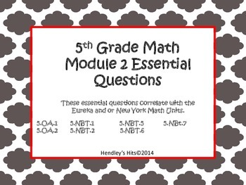 5th Grade Math Module 2 Essential Questions- Eureka / New York Math