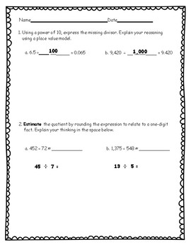 5th Grade Math Module 2 Practice Assessments with Answer Keys