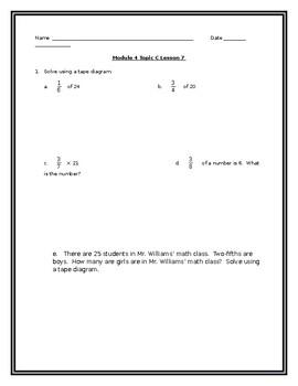 5th Grade Math Module 4 Topic C Lesson 7 Resource