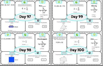 5th Grade Math Morning Work
