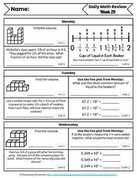 5th Grade Math Morning Work: 4th Quarter, 5th Grade Math Spiral Review Homework