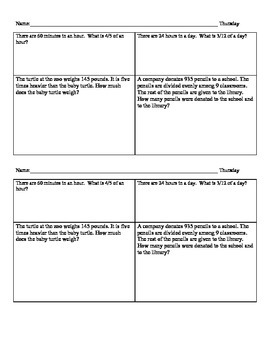 5th Grade Math Morning Work - Common Core Spiral Review, 2