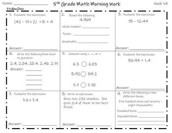 5th Grade Math Morning Work - Set Two (9 Weeks)