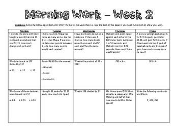 5th Grade Math Morning Work - Week 2