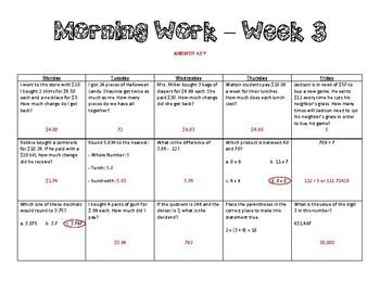 5th Grade Math Morning Work - Week 3