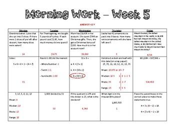 5th Grade Math Morning Work - Week 5