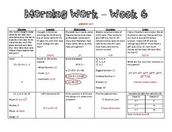 5th Grade Math Morning Work - Week 6