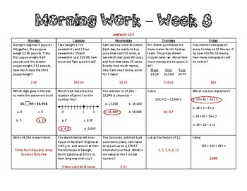 5th Grade Math Morning Work - Week 8