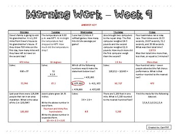5th Grade Math Morning Work - Week 9